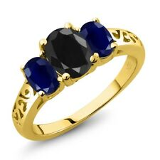 2.76 Ct Oval Black Sapphire Blue Sapphire 18K Yellow Gold Plated Silver Ring