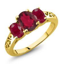 2.50 Ct Oval Ruby Red Mystic Topaz Red Ruby 18K Yellow Gold Ring