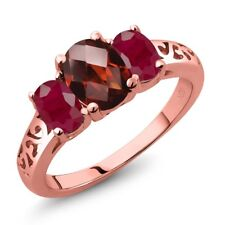 2.60 Ct Oval Checkerboard Red Garnet Red Ruby 18K Rose Gold Plated Silver Ring