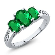 1.80 Ct Oval Green Simulated Emerald 925 Sterling Silver Ring