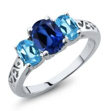 2.60 Ct Oval Blue Simulated Sapphire Swiss Blue Topaz 925 Sterling Silver Ring