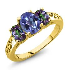 2.30 Ct Oval Purple Blue Mystic Topaz Green Mystic Topaz 18K Yellow Gold Ring