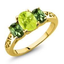 2.10 Ct Oval Yellow Lemon Quartz Green Tourmaline 14K Yellow Gold Ring