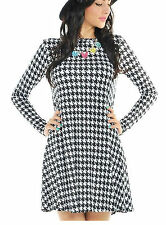 WOMENS DOG HOUND TOOTH PRINT LONG SLEEVE CASUAL LADIES SKATER SWING DRESS  8-16