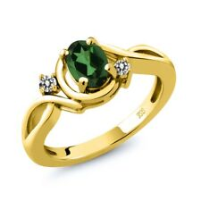 0.87 Ct Oval Emerald Envy Mystic Topaz White Diamond 18K Yellow Gold Ring