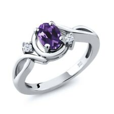 0.83 Ct Oval Purple Amethyst White Topaz 925 Sterling Silver Ring