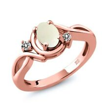 0.70 Ct Oval Cabochon White Simulated Opal White Diamond 18K Rose Gold Ring