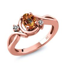 0.87 Ct Oval Ecstasy Mystic Topaz White Diamond 18K Rose Gold Plated Silver Ring