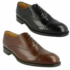 OBAN MENS LOAKE BROWN BLACK LEATHER LACE UP FORMAL SEMI BROGUE SMART SHOES F FIT