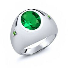 4.08 Ct Oval Green Simulated Emerald Simulated Tsavorite 925 Silver Men's Ring