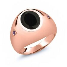 4.08 Ct Oval Black Onyx Purple Amethyst 18K Rose Gold Plated Silver Men's Ring