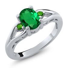 1.08 Ct Oval Green Simulated Emerald and Simulated Tsavorite 925 Silver Ring