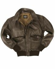 MIL-TEC A2 LEATHER FLIGHT JACKET CLASSIC MILITARY ARMY MENS BOMBER