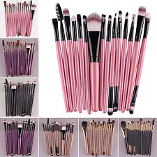 15 Pcs Soft Powder Foundation Eyeshadow Eyeliner Lip Brush Cosmetic Makeup Set