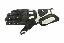 Motorcycle Gloves Leather black white Size M L XL XXL.Biker Summer gloves-l