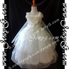 #PB9 Flower Girl Formal Pageant Dress Gowns Ivory 3 4 5 6 7 8 9 10 11 12 13 14