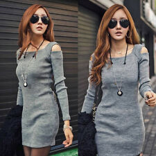Womens Slim Ribbed Square Neck Long Sleeves Shoulder Hollow T-Shirt Dress SL