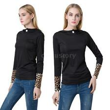 Casual Leopard Tops Long Sleeve Womens Blouse Tee Shirt Hoodie Pullover NEW UK6T