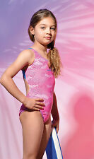 AQAURAPID ITAIAN DESIGN GIRLS SWIMMING SWIM COSTUME PINK BLUE GREEN