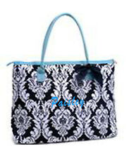 Personalizing Quilted Bloom DAMASK Large Tote Bag Purse MONOGRAM Embroidery Name