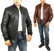 Mens Real Leather Bomber Jacket College Baseball Ben LATEST Sports Black- Brown