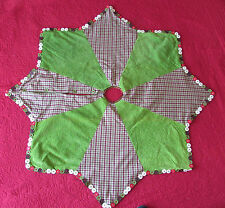 "Plaid Christmas Tree Skirt Star Burgundy Green Buttons 45"" Primitive Country"