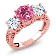2.30 Ct Pink Mystic Topaz White Topaz 18K Rose Gold Plated Silver 3-Stone Ring