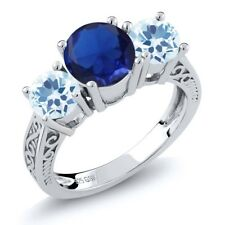 2.67 Ct Blue Simulated Sapphire Sky Blue Topaz 925 Sterling Silver 3-Stone Ring