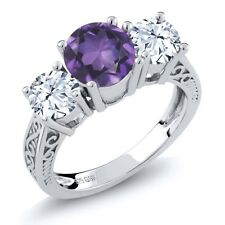 2.60 Ct Round Purple Amethyst 925 Sterling Silver 3-Stone Ring
