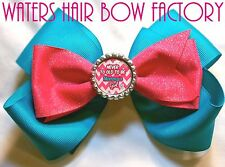 """Boutique HAIR BOW HOT PINK TURQUOISE """"Mommy's Girl"""" Girl Hair Bow Clip"""