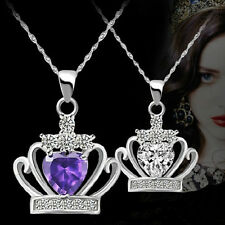 Noble 925 Sterling Silver Plated Rhinestone Princess Crown Pendant Necklace Gift