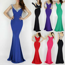 Sexy DEEP V NECK Long Bridesmaid Evening Formal Party Cocktail Dress Gown Prom