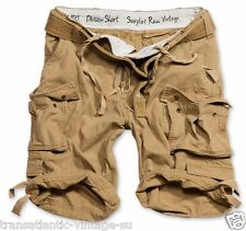 SURPLUS ARMY MENS DIVISION CARGO SHORTS COMBAT KNEE LENGTH & DELUXE BELT SAND