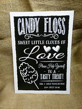 CANDY FLOSS sign for your treats table or cart - personalised CHALK STYLE