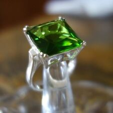 GREEN PERIDOT CZ SQUARE LARGE FLASHY RING 925 STERLING SILVER COCKTAIL RING