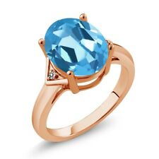 5.01 Ct Oval Swiss Blue Topaz White Diamond 18K Rose Gold Plated Silver Ring