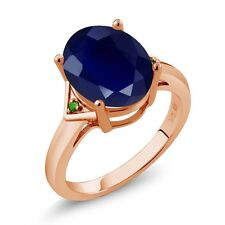 5.01 Ct Blue Sapphire Green Simulated Tsavorite 18K Rose Gold Plated Silver Ring
