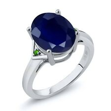 5.01 Ct Oval Blue Sapphire and Green Simulated Tsavorite 18K White Gold Ring