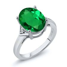 4.02 Ct Oval Green Simulated Emerald White Sapphire 925 Sterling Silver Ring
