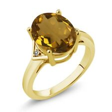 4.01 Ct Oval Whiskey Quartz White Diamond 18K Yellow Gold Plated Silver Ring