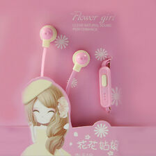 Style Flower Girl Earphones Stereo Headphones Candy Color Cute Headset With MIC