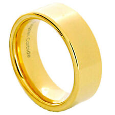 8mm Tungsten Shiny Flat Top Gold EP Band Men's Wedding Ring