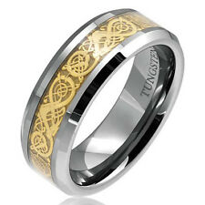 Gold Dragon Inlay Tungsten Celtic Ring Men's Wedding Band sz6-14