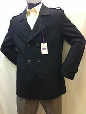 Mens  Wool Mix Smart Double Breasted Casual Jacket - Black Vintage Collection