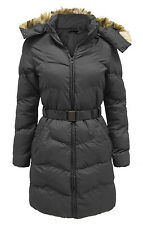 Womens/Ladies/Girls New Warm Quilted Zip Padded Belted Coat Jacket