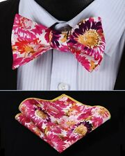 BMF402K Pink Yellow Floral Men Woven Cotton Self Bow Tie Pocket Square Set