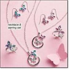 AVON DANCING BUTTERFLY NECKLACE & EARRINGS GIFT SET - BLUE OR PINK