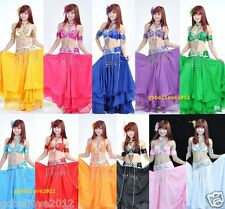 Brand New Sexy Belly Dance 2 Pcs Costume Bra & Belt 11 Colors Handmade