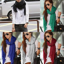 Womens Girl Solid Color Long Soft Wrinkle Scarf  Cotton Blend Wrap Shawl Scarves