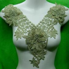 Rose Flower Gold Collar Sew on Patch Cute Applique Badge Embroidered Bust Dress